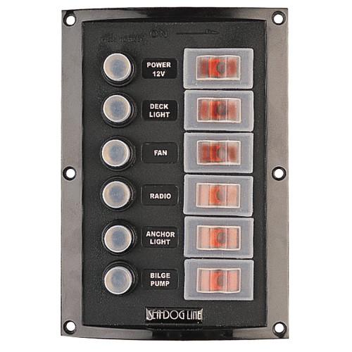 Sea-Dog Splash Guard Circuit Breaker Panel - 6 Circuit