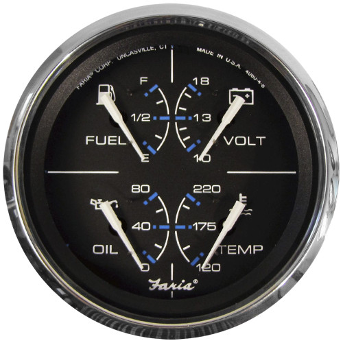 "Faria Chesapeake Black w\/SS Bezel 4"" Multifunction [Fuel Level 