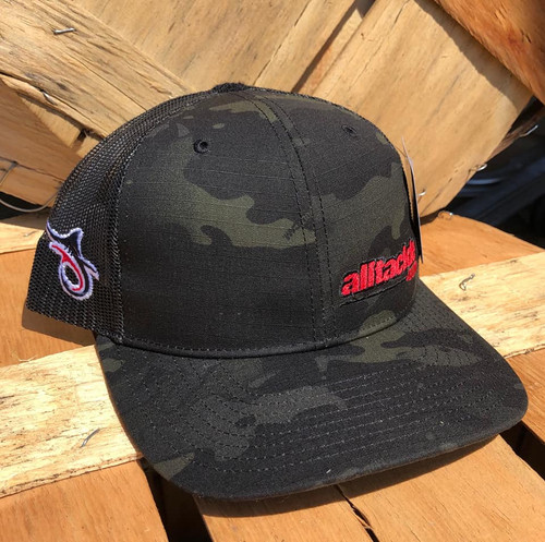 Alltackle Fishing Hat - Camo Side Hit - Black/Red
