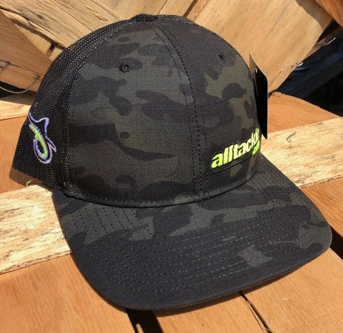 Alltackle Fishing Hat - Camo Side Hit - Black/Yellow
