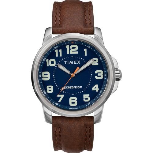 Timex Mens Expedition Metal Field Watch - Blue Dial\/Brown Strap