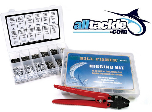 These Billfisher rigging kits contain 350 of the most popular items for offshore rigging. The 351 piece kit contains our CN-10 Crimper, both come in a handy storage box containing: 100 1.3 Black Double Sleeves. 100 1.6 Black Double Sleeves. 50 1.9 Black Double Sleeves. 50 2.2 Black Double Sleeves. 25 Small Stainless Thimbles. 25 Large Nylon Thimbles.