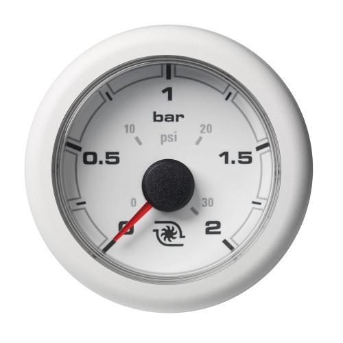 """VDO Marine 2-1\/16"""" (52MM) OceanLink Boost Pressure Gauge w\/Numerical Reading - White Dial  Bezel"""