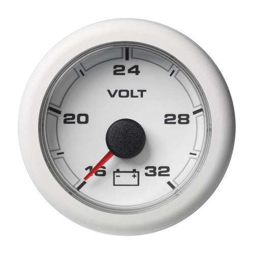 "VDO Marine 2-1\/16"" (52MM) OceanLink Battery Voltage Gauge w\/numerical reading - White Dial  Bezel"