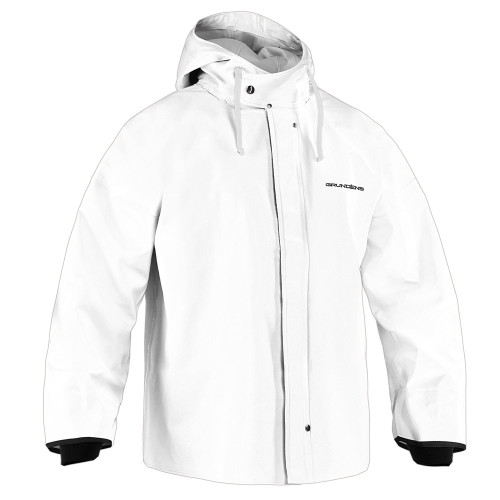 BRIGG 44 COMMERCIAL FISHING PARKA DESCRIPTION A jacket made for professional fisherman. 100% waterproof heavyweight PVC coated cotton-poly material to keep you dry and comfortable in the toughest conditions, and recessed neoprene cuff designed to keep water out.