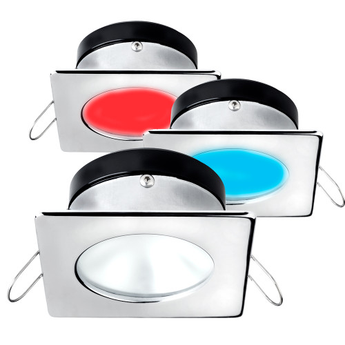 i2Systems Apeiron A1120 Spring Mount Light - Square\/Round - Red, Cool White  Blue - Polished Chrome