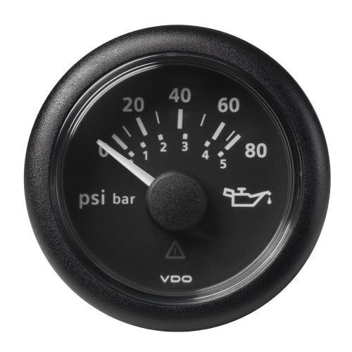 """VDO Marine 2-1\/16"""" (52MM) Viewline Oil Pressure Gauge 80 PSI\/5 Bar - 8-32V - Black Dial  Round Bezel"""