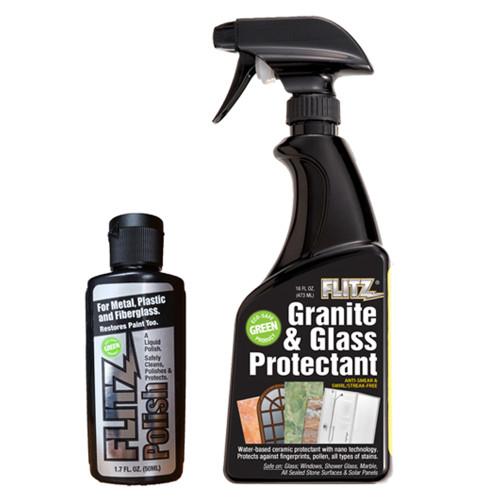 Flitz Granite  Glass Protectant 16oz Spray Bottle w\/1-1.7oz Liquid Polish