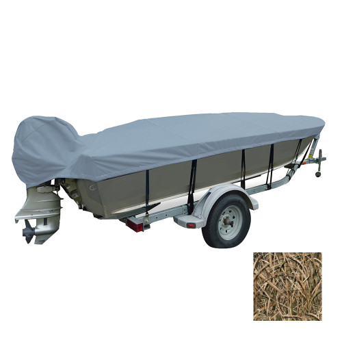 Carver Performance Poly-Guard Wide Series Styled-to-Fit Boat Cover f\/13.5 V-Hull Fishing Boats - Shadow Grass
