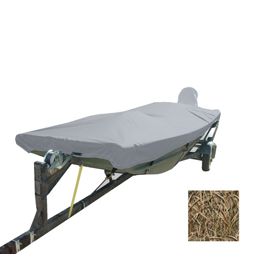 Carver Performance Poly-Guard Styled-to-Fit Boat Cover f\/12.5 Open Jon Boats - Shadow Grass