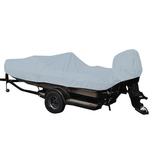 Carver Performance Poly-Guard Styled-to-Fit Boat Cover f\/19.5 Fish  Ski Style Boats w\/Walk-Thru Windshield - Grey