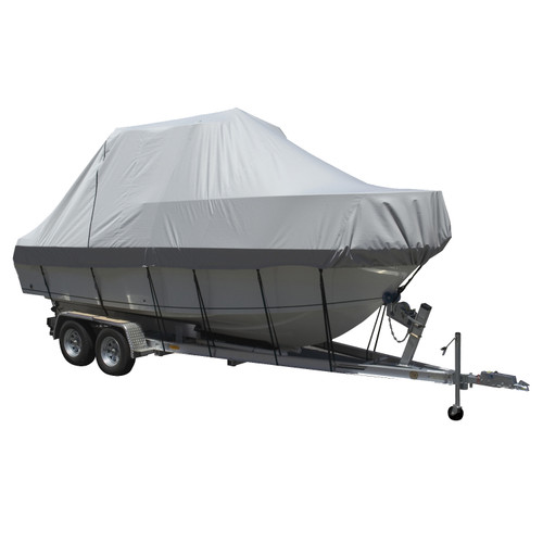 Carver Performance Poly-Guard Specialty Boat Cover f\/23.5 Walk Around Cuddy  Center Console Boats - Grey