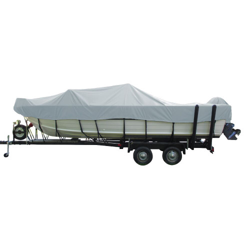 Carver Performance Poly-Guard Wide Series Styled-to-Fit Boat Cover f\/18.5 Aluminum V-Hull Boats w\/Walk-Thru Windshield - Grey