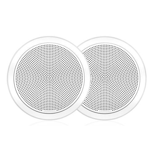 "FUSION FM-F65RW FM Series 6.5"" Flush Mount Round Marine Speakers - White Grill - 120W"