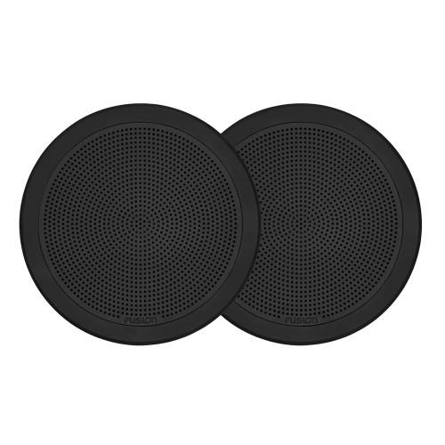 "FUSION FM-F65RB FM Series 6.5"" Flush Mount Round Marine Speakers - Black Grill - 120W"