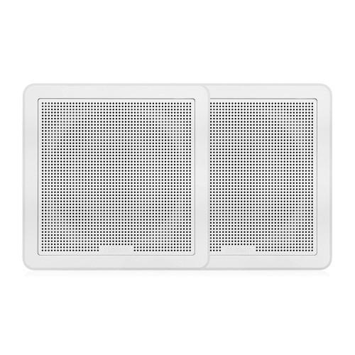 "FUSION FM-65SW FM Series 6.5"" 120 Flush Mount Square Marine Speakers - White Grill - 120W"