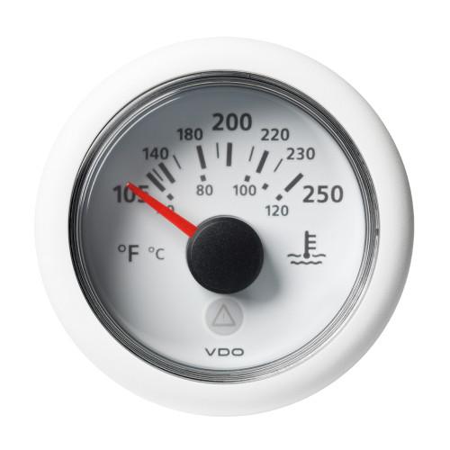 "VDO Marine 2-1\/16"" (52mm) ViewLine Temperature Gauge 120C\/250F - 8-32V - White Dial  Bezel"
