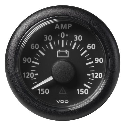 "VDO Marine 2-1\/16"" (52MM) ViewLine Battery Status Gauge -150\/+150AMP - 8 to 32V - Black Dial  Bezel"