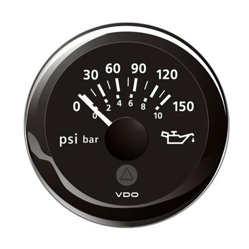 "VDO Marine 2-1\/16"" (52mm) ViewLine Oil Pressure Indicator (8-16V) 0 to 150 PSI - Black Dial  Round Bezel"