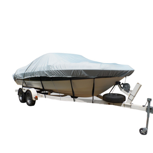 Carver Flex-Fit PRO Polyester Size 6 Boat Cover f\/V-Hull Low Profile Cuddy Cabin Boats I\/O or O\/B - Grey