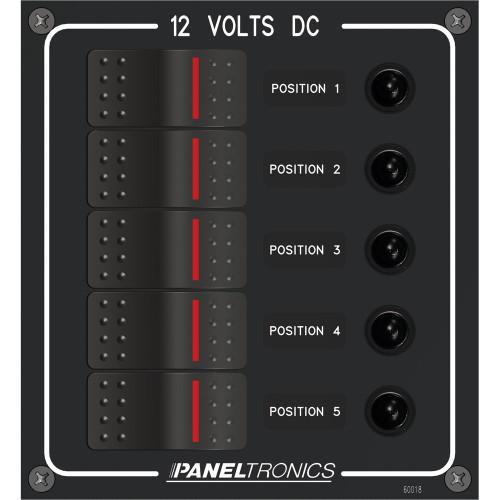 Paneltronics Waterproof Panel - DC 5-Position Illuminated Rocker Switch & Circuit Breaker