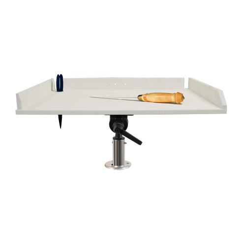 "TACO 32"" Poly Filet Table w\/Adjustable Gunnel Mount - White"