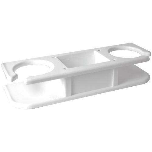 """TACO 2-Drink Poly Cup Holder w\/""""Catch-All"""" - White"""