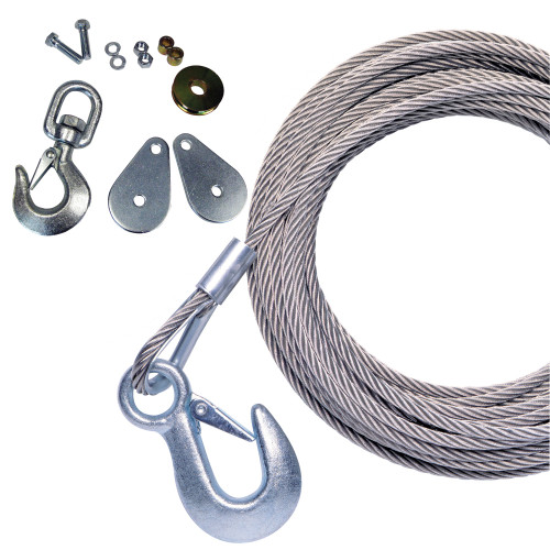 """Powerwinch 50' x 7\/32"""" Stainless Steel Universal Premium Replacement Galvanized Cable w\/Hook & Swivel Pulley Block"""