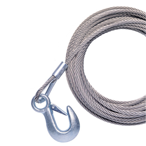 "Powerwinch 40' x 7\/32"" Replacement Galvanized Cable w\/Hook f\/RC30, RC23, 712A, 912, 915, T2400 & AP3500"