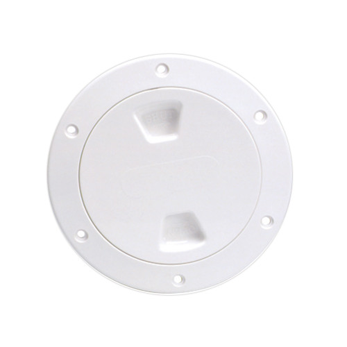 """Beckson 4"""" Smooth Center Screw-Out Deck Plate - White"""