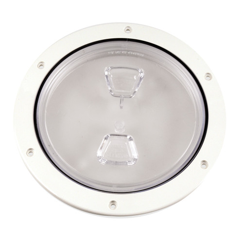 """Beckson 6"""" Clear Center Screw Out Deck Plate - White"""