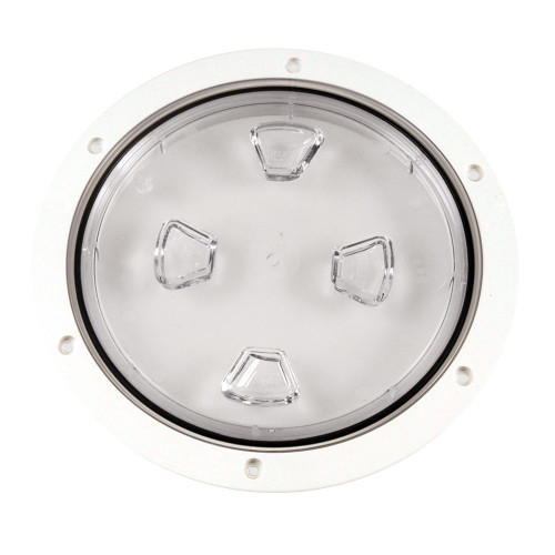 """Beckson 8"""" Clear Center Screw-Out Deck Plate - White"""