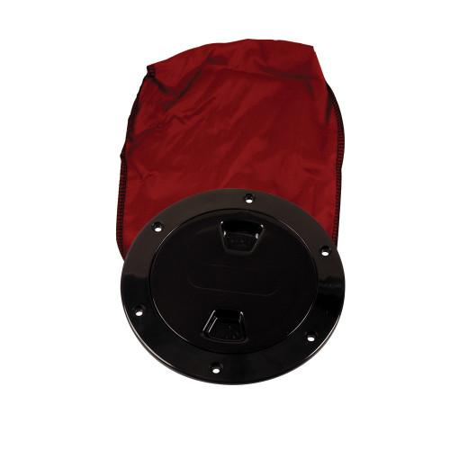 """Beckson 4"""" Stow-Away Deck Plate - Black w\/12"""" Bag"""