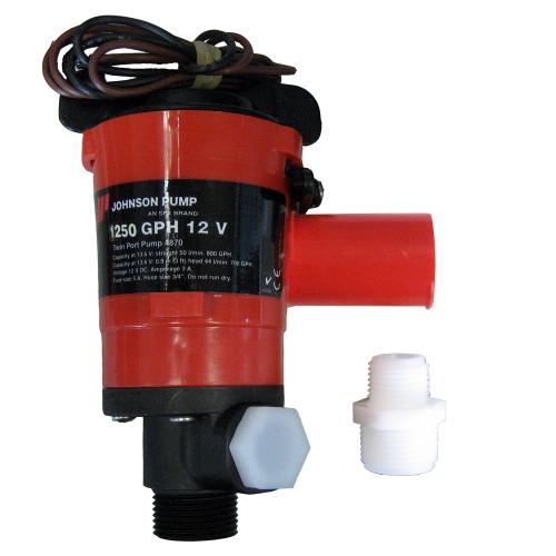 Johnson Pump Twin Port 1250 GPH Livewell Aerating Pump - 12V