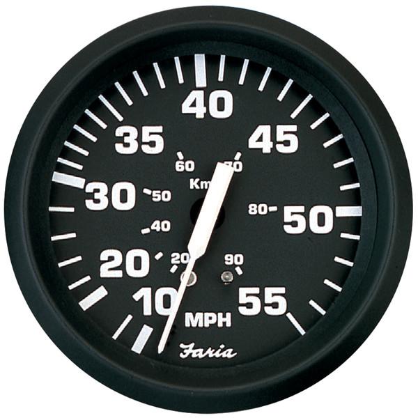 ",32909 Faria Euro White 4/"" Speedometer,55MPH Mechanical"