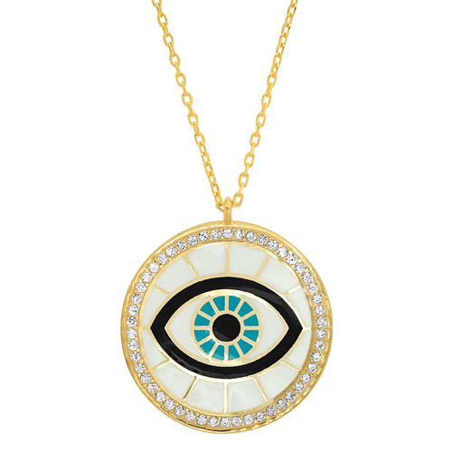 Enamel Evil Eye Coin Necklace