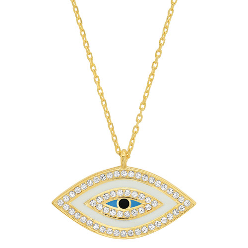 Enamel Eye Necklace w CZ Accents