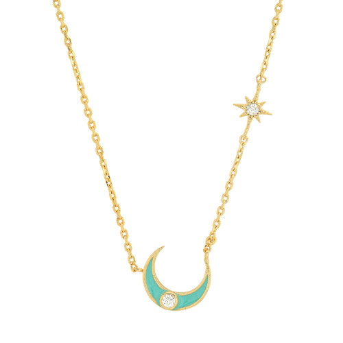 Enamel Star and Moon Necklace