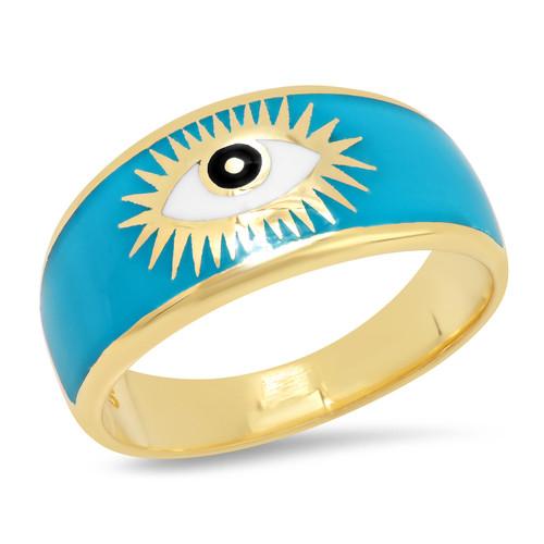 Turquoise Evil Eye Signet Ring