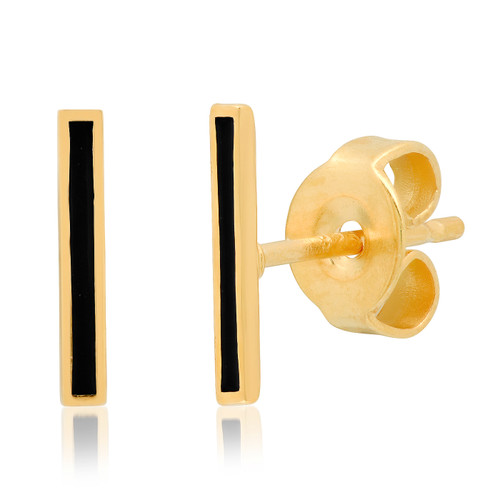 Black Enamel Stick Stud