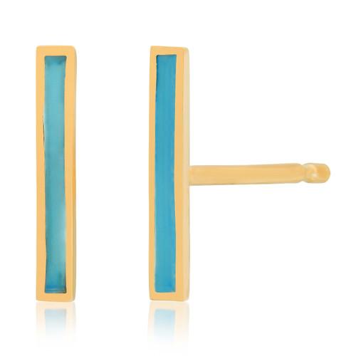 Turquoise Enamel Stick Stud