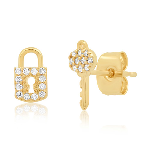 Pave Lock & Key Studs