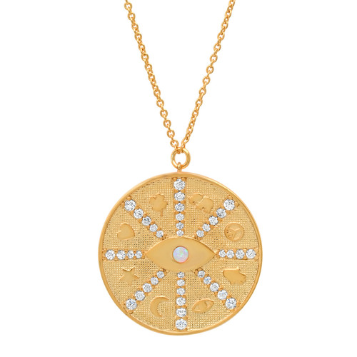 Gold Coin Pendant with Evil Eye