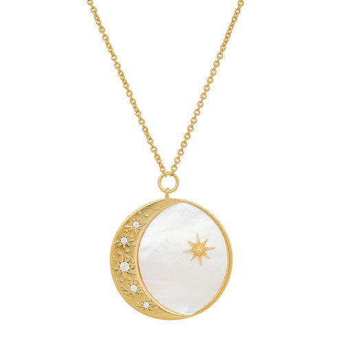 Pearl Star and Moon Coin Necklace