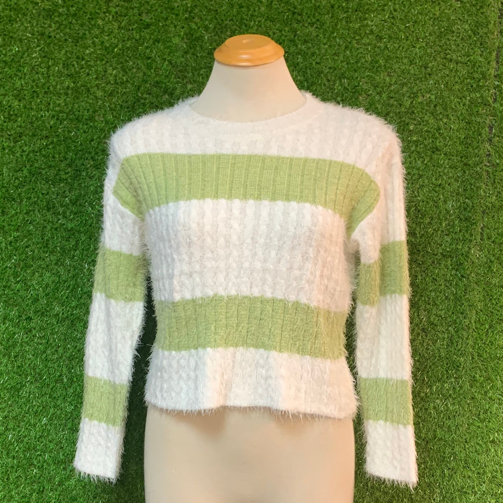 Tell Me More Knit top, Green Stripe