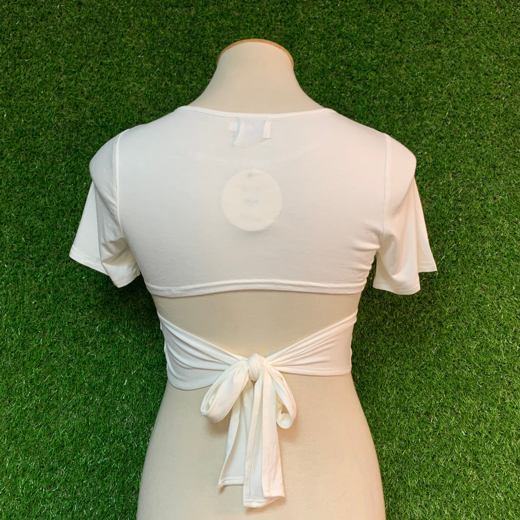 Re-do Tie Back Top, White