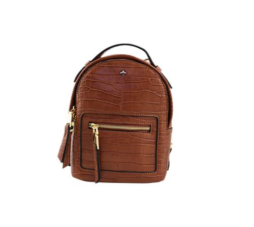 Peta & Jain - Zoe Mini Backpack, Tan Croc