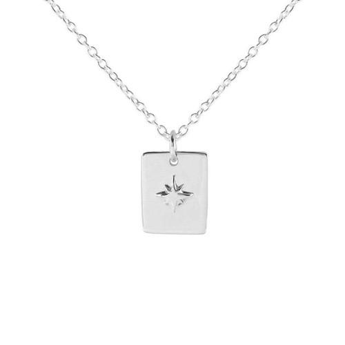 Midsummer Star - Celestial Medallion Necklace, Silver