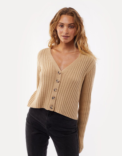 All About Eve - Ribbed Cropped Cardi, Cream