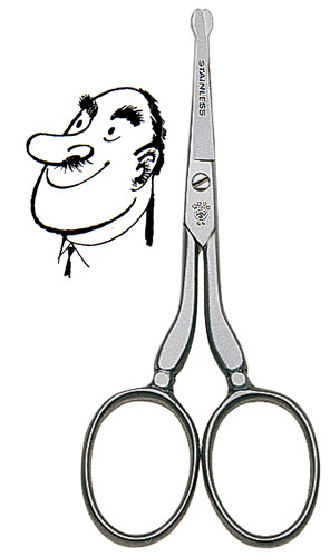 Dovo - Ear & Nose Hair Scissors (Blunt), Curved, 4 inch, Stainless (44409)